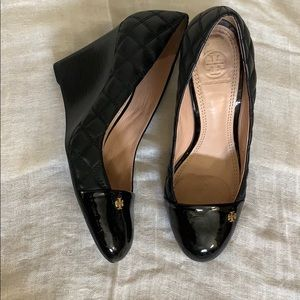 Tory Burch Black Quilted Wedges